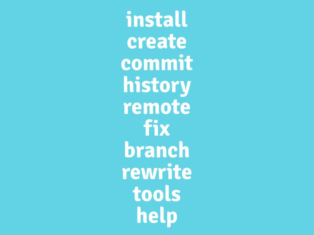 install create commit history remote fix branch...