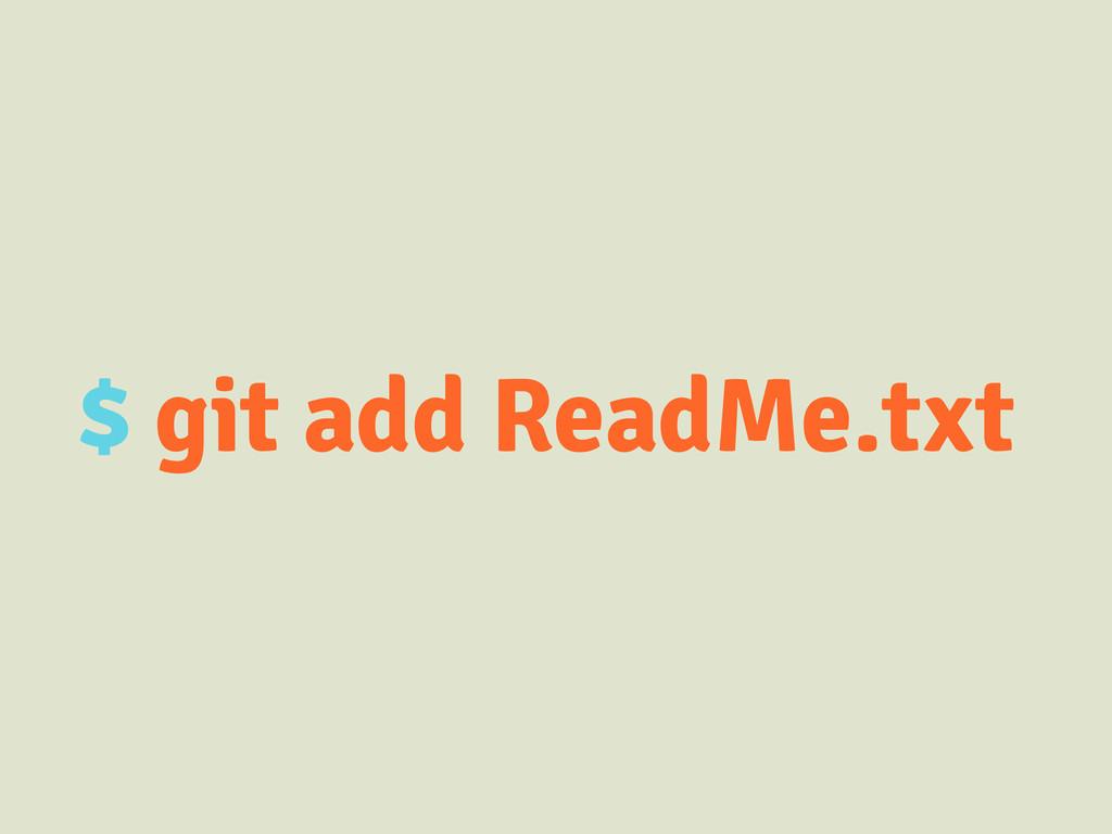 $ git add ReadMe.txt