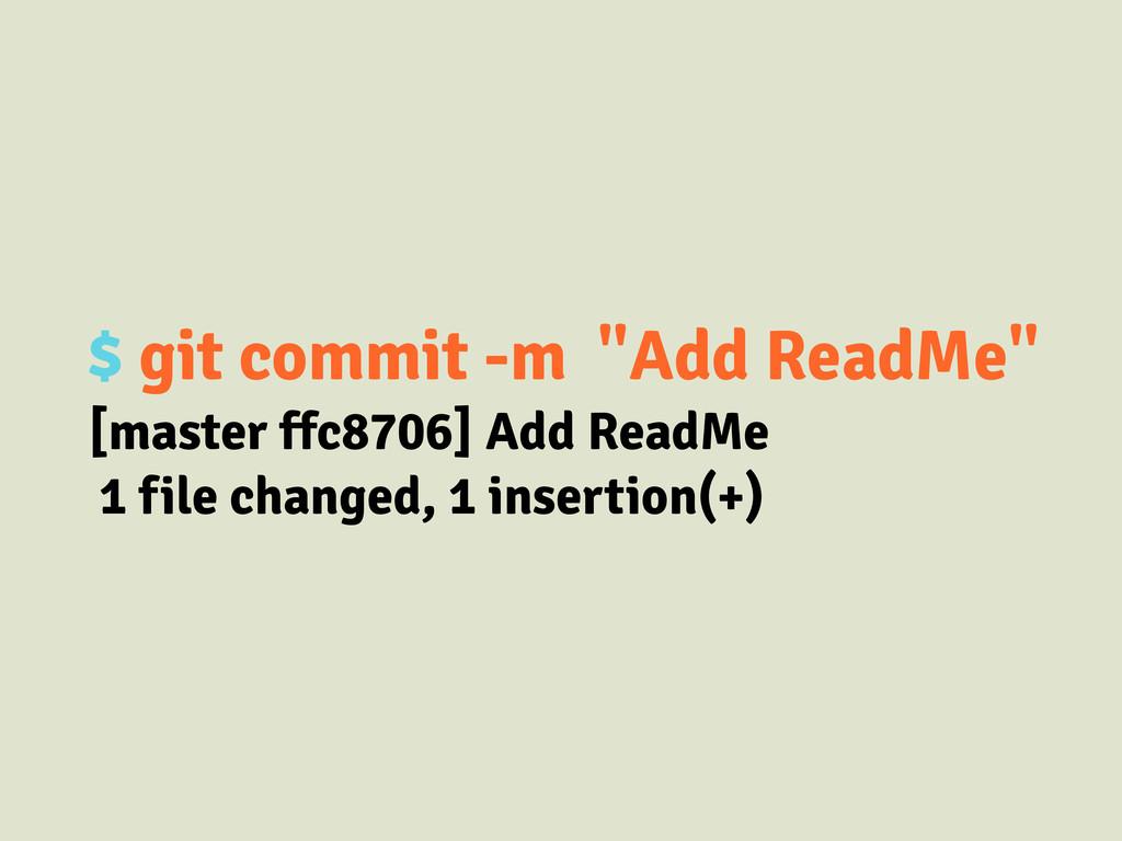 "$ git commit -m ""Add ReadMe"" [master ffc8706] A..."