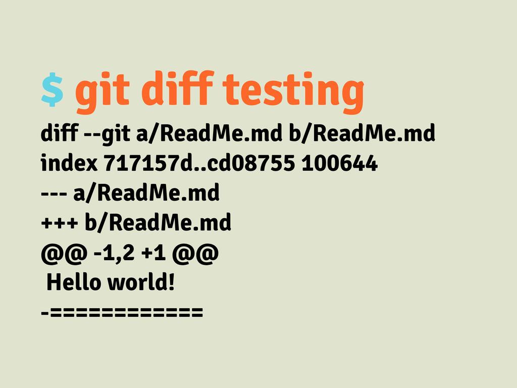 $ git diff testing diff --git a/ReadMe.md b/Rea...