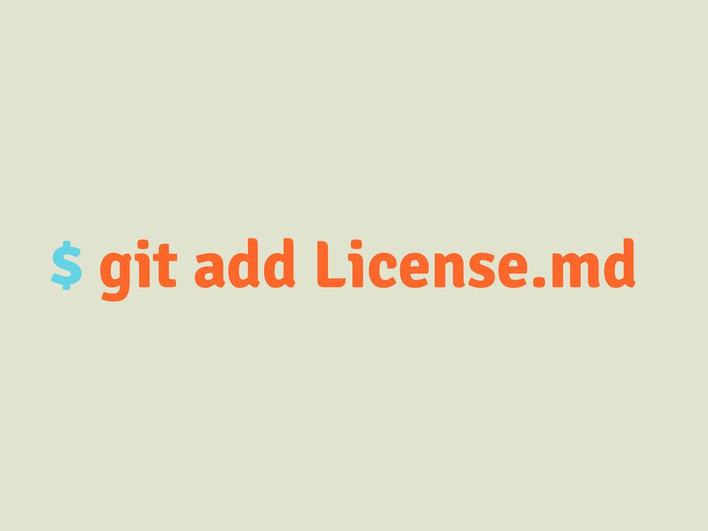 $ git add License.md