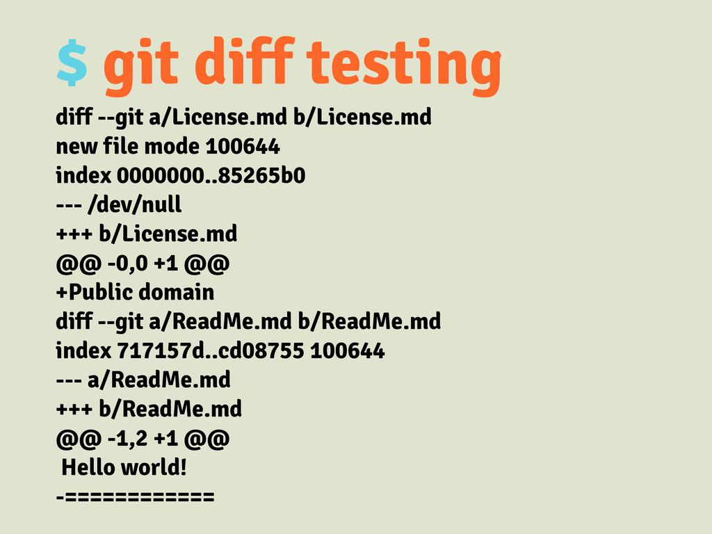 $ git diff testing diff --git a/License.md b/Li...
