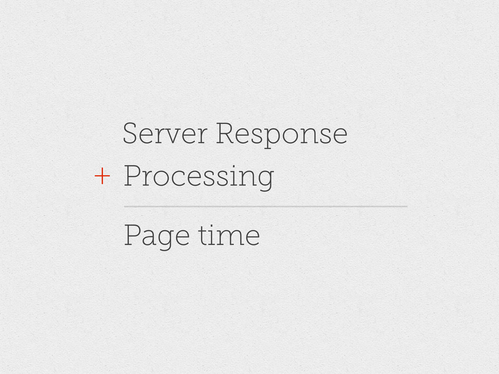 Server Response Processing + Page time
