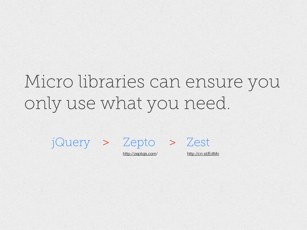 Micro libraries can ensure you only use what yo...