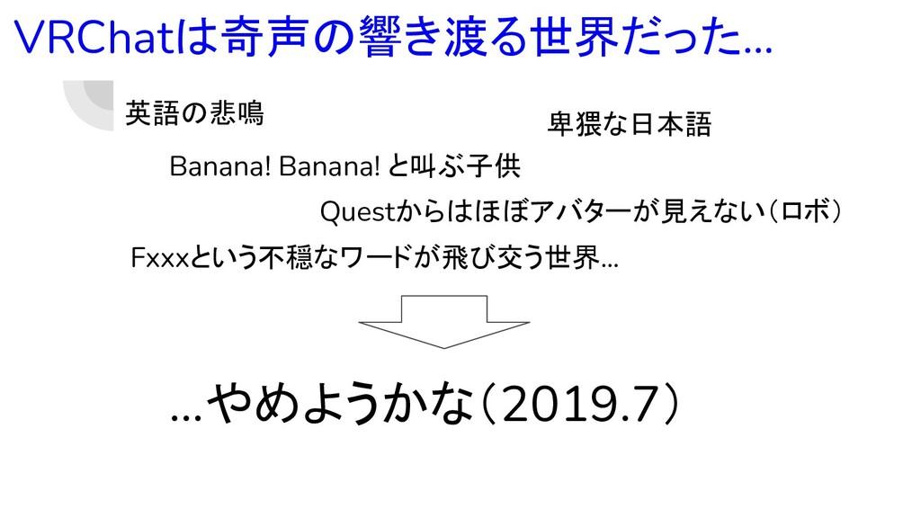 VRChatは奇声の響き渡る世界だった… 英語の悲鳴 Banana! Banana! と叫ぶ子...