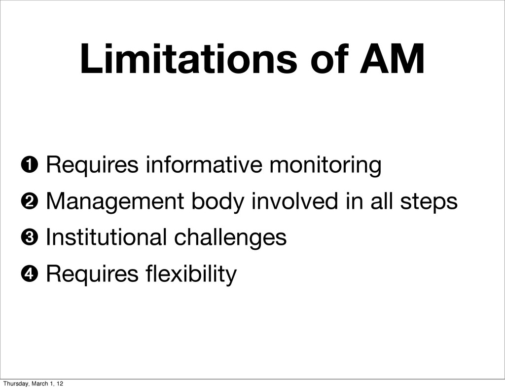 Limitations of AM ➊ Requires informative monito...