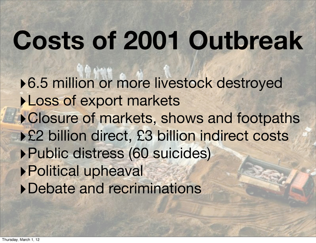 ‣6.5 million or more livestock destroyed ‣Loss ...