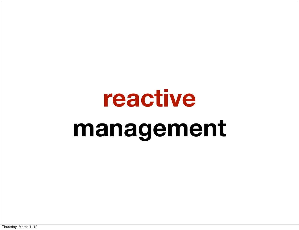 reactive management Thursday, March 1, 12