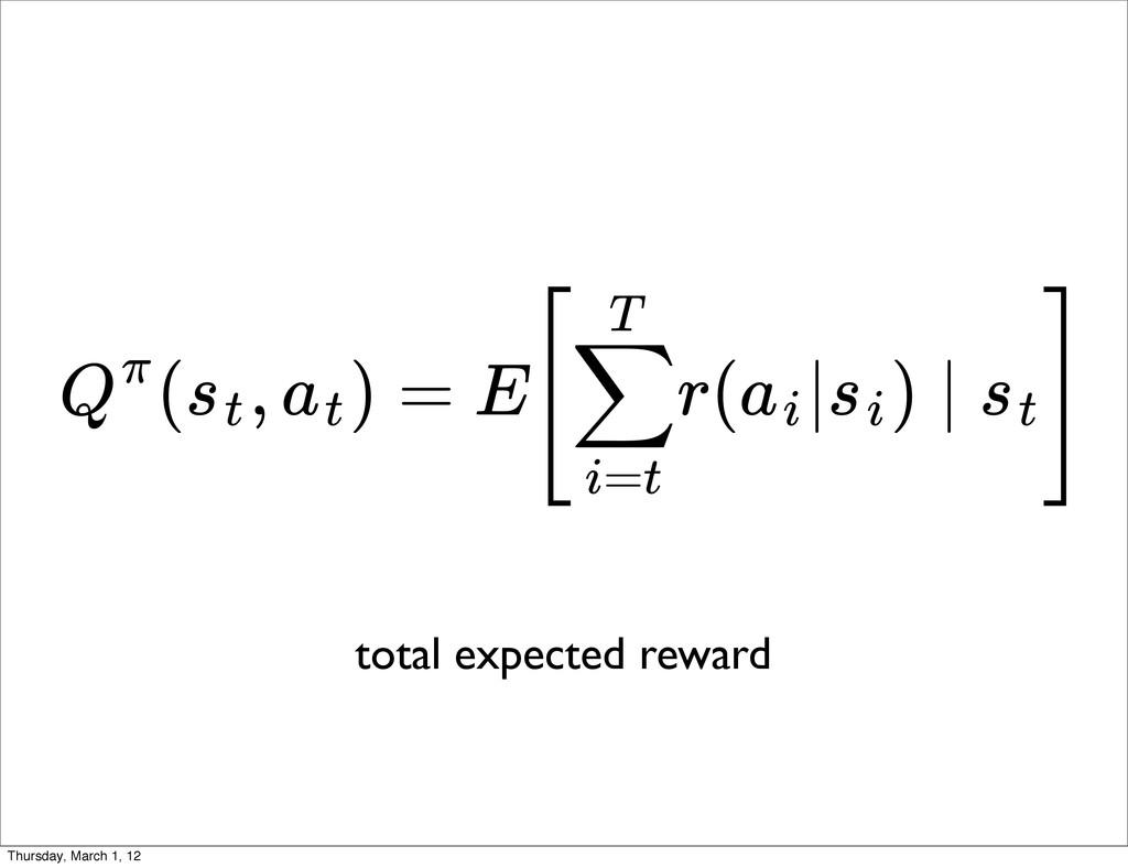 ( , ) = E[ r( | ) ∣ ] Qπ st at ∑ i=t T ai si st...