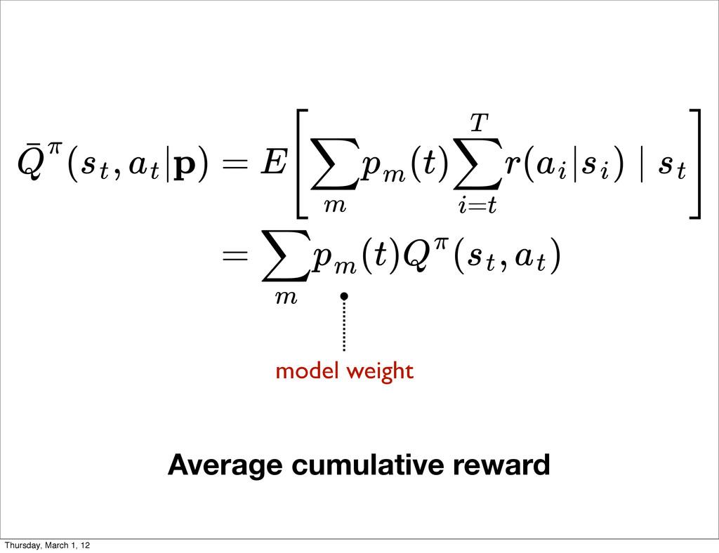 Average cumulative reward ( , |p) Q ˉπ st at = ...