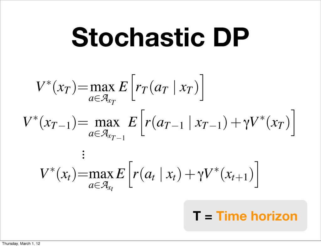 Stochastic DP V⇤(xT )=max a2A xT E h rT (aT | x...