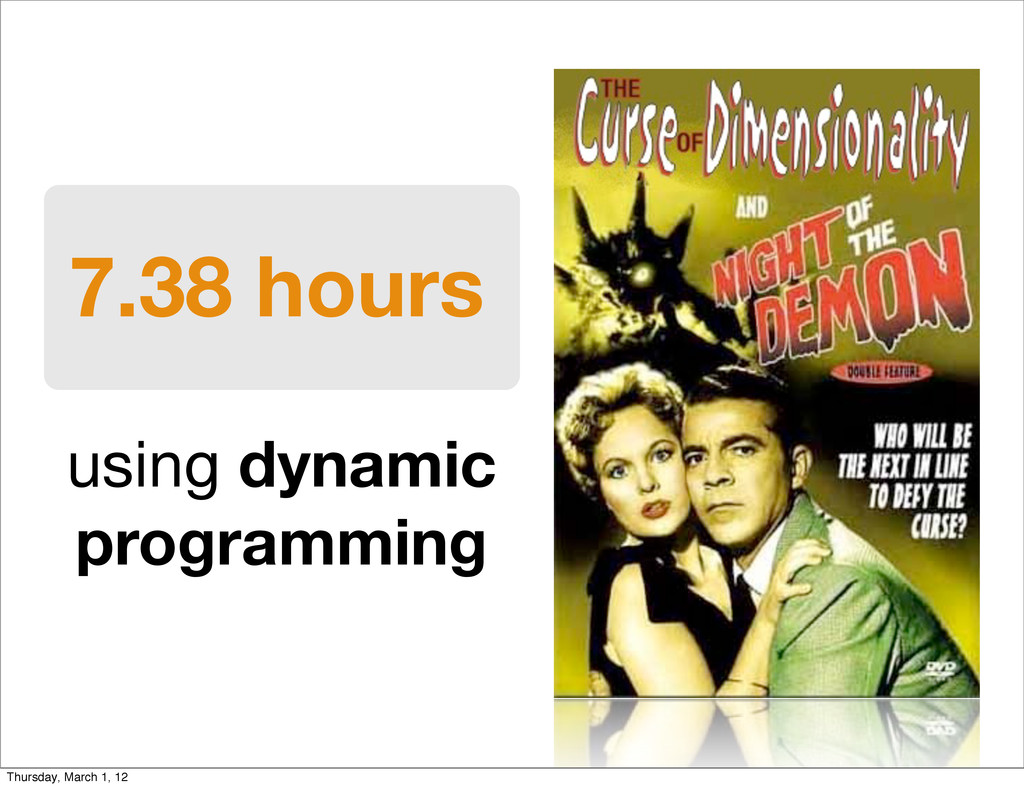 7.38 hours using dynamic programming Thursday, ...