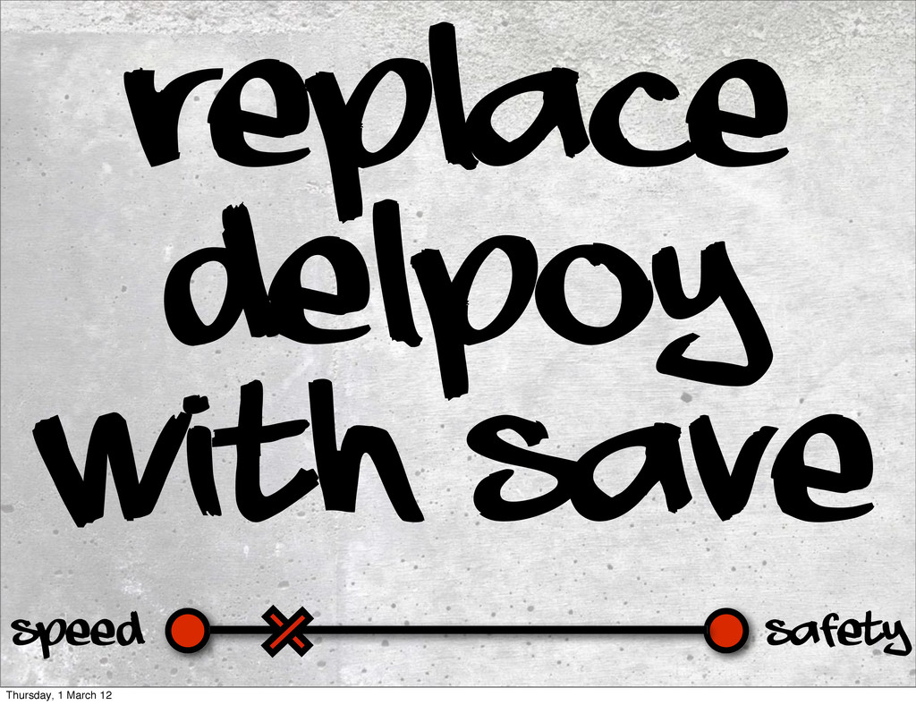 Safety Speed Replace delpoy with save Thursday,...