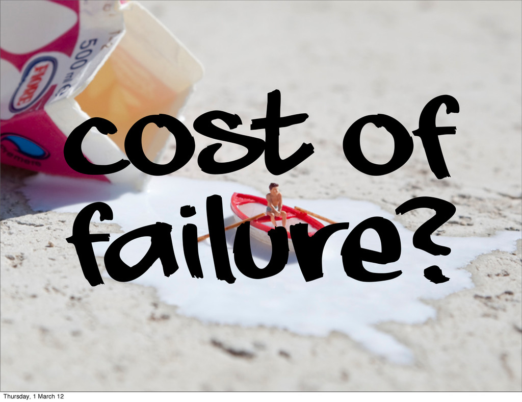 Cost of failure? Thursday, 1 March 12