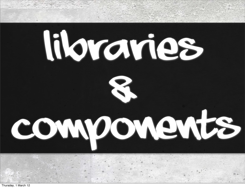 Libraries components & Thursday, 1 March 12