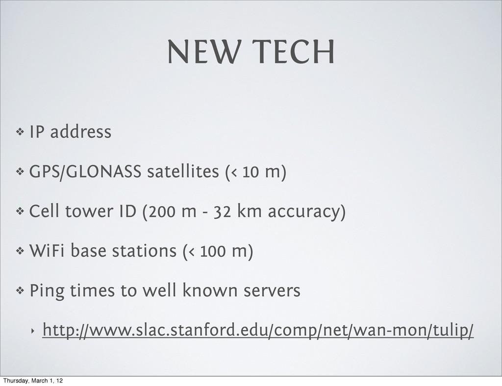 NEW TECH ❖ IP address ❖ GPS/GLONASS satellites ...