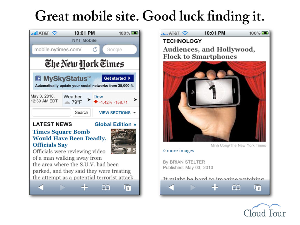Great mobile site. Good luck nding it.