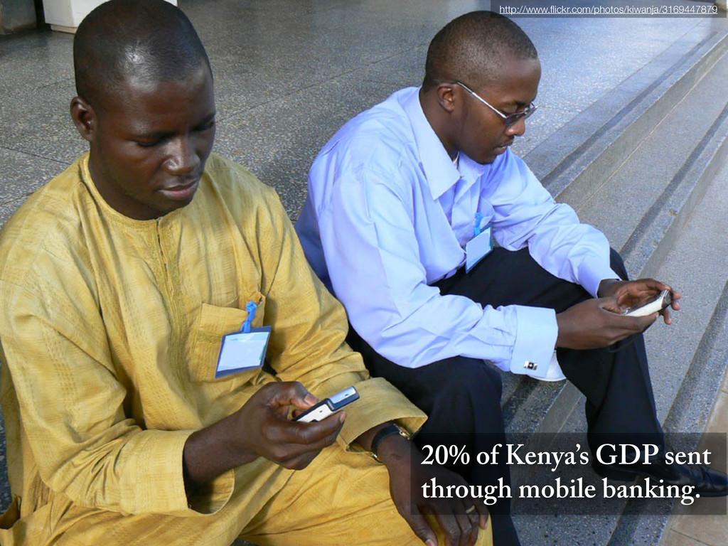 20% of Kenya's GDP sent through mobile banking....