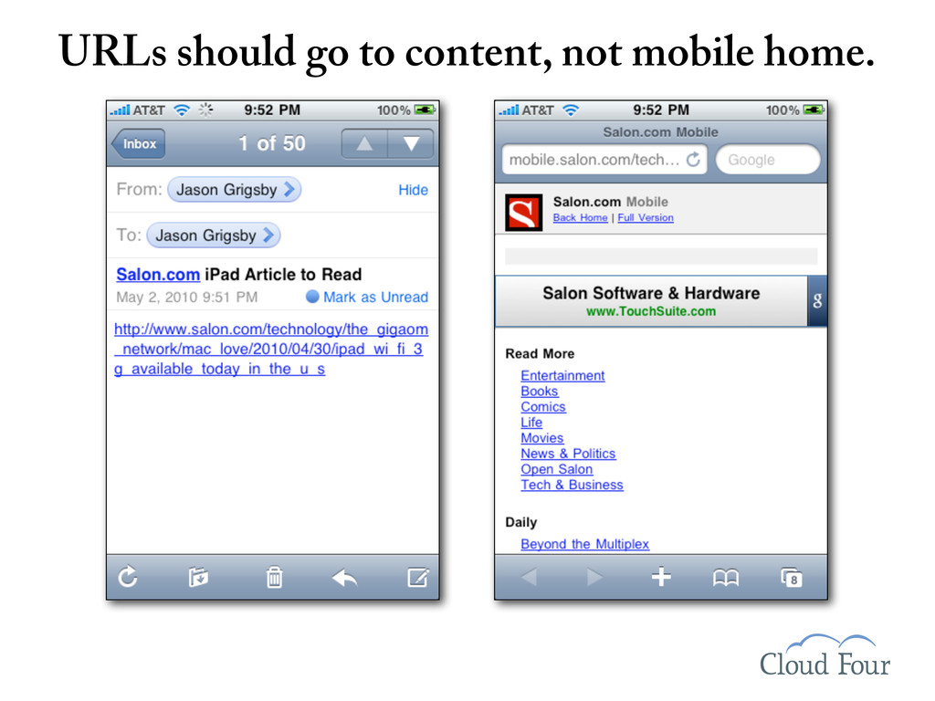 URLs should go to content, not mobile home.