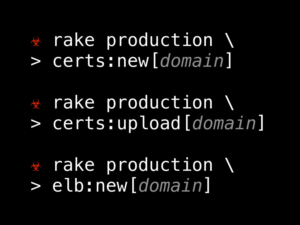 ☣ rake production \ > certs:new[domain] ☣ rake ...