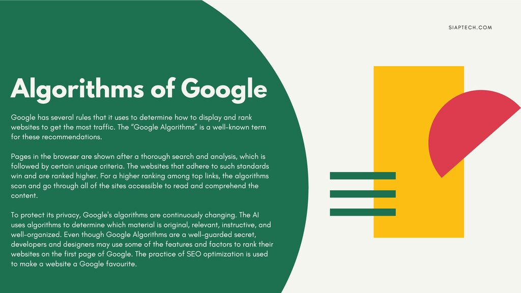 Algorithms of Google Google has several rules t...