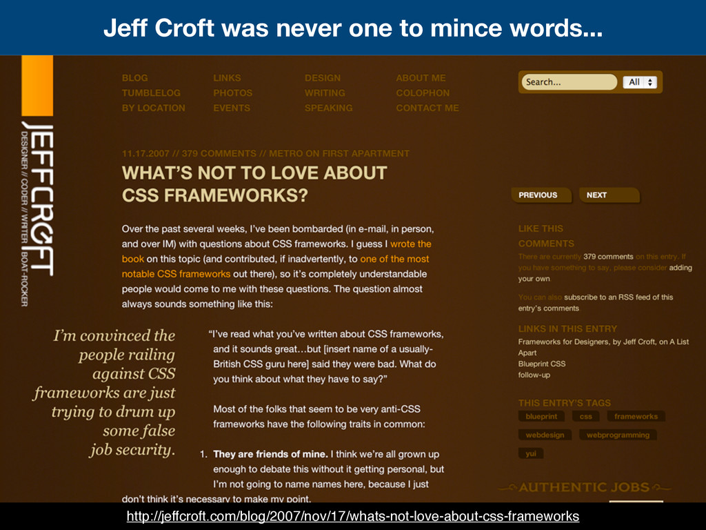 Jeff Croft was never one to mince words... http...