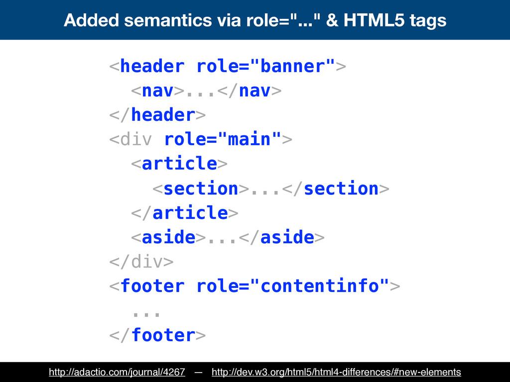 """Added semantics via role=""""..."""" & HTML5 tags <he..."""