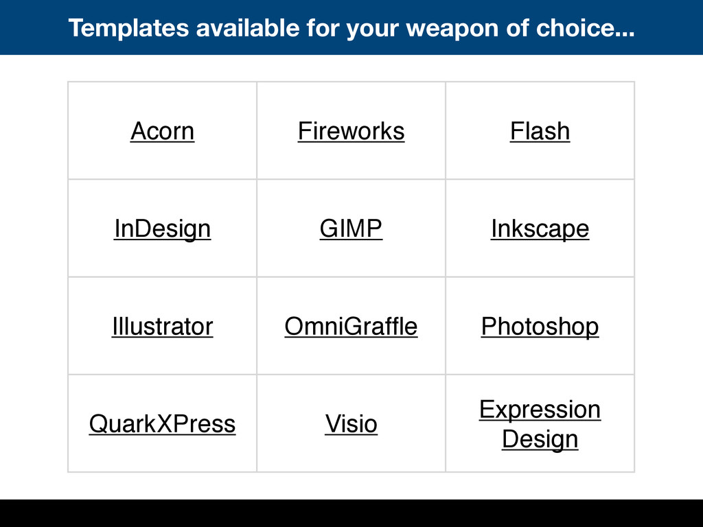 Templates available for your weapon of choice.....