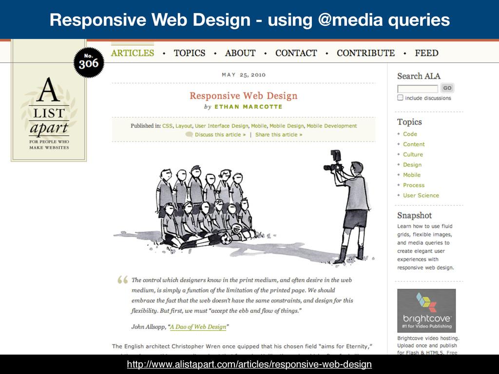 Responsive Web Design - using @media queries ht...