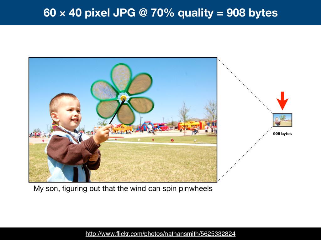 60 × 40 pixel JPG @ 70% quality = 908 bytes My ...