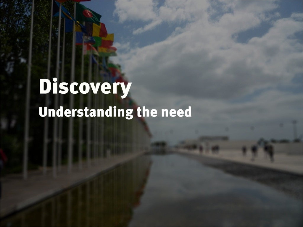 Discovery Understanding the need