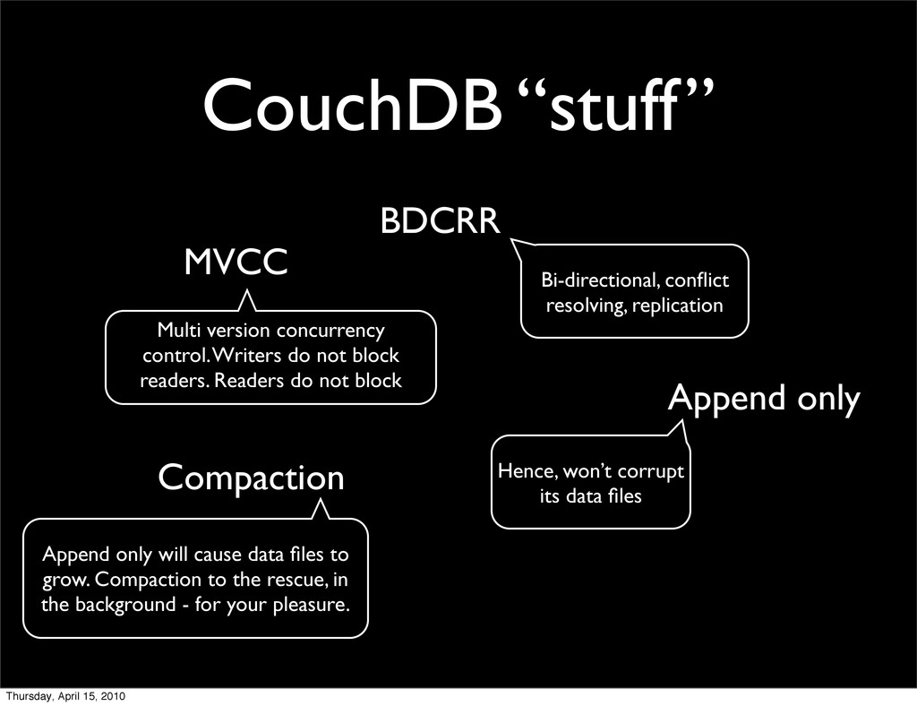 "CouchDB ""stuff"" MVCC Append only Compaction BDC..."