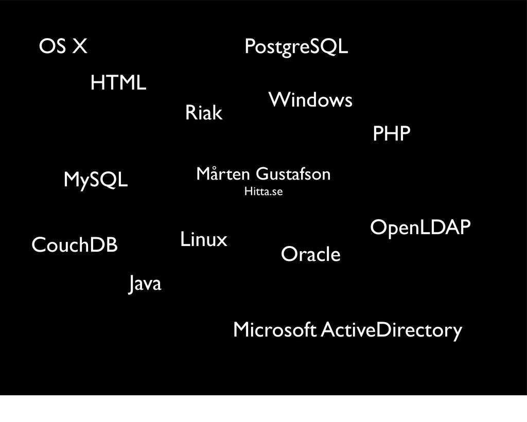 Mårten Gustafson Hitta.se Java PHP HTML Oracle ...