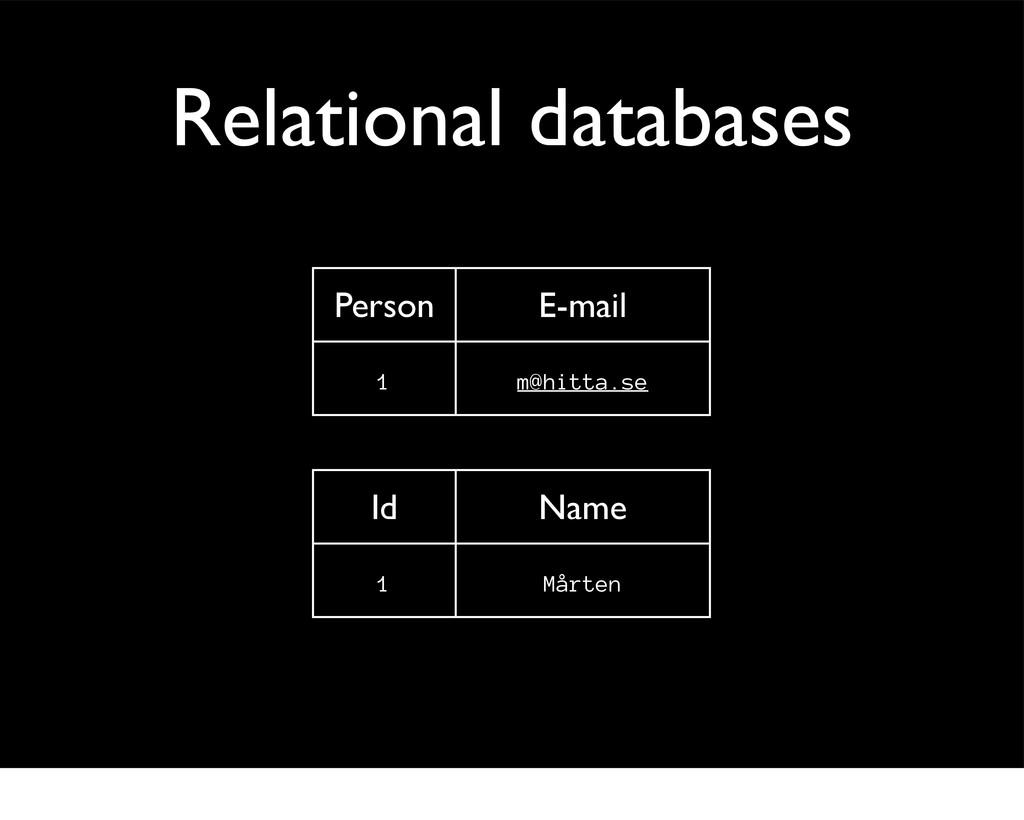 Relational databases Id Name 1 Mårten Person E-...