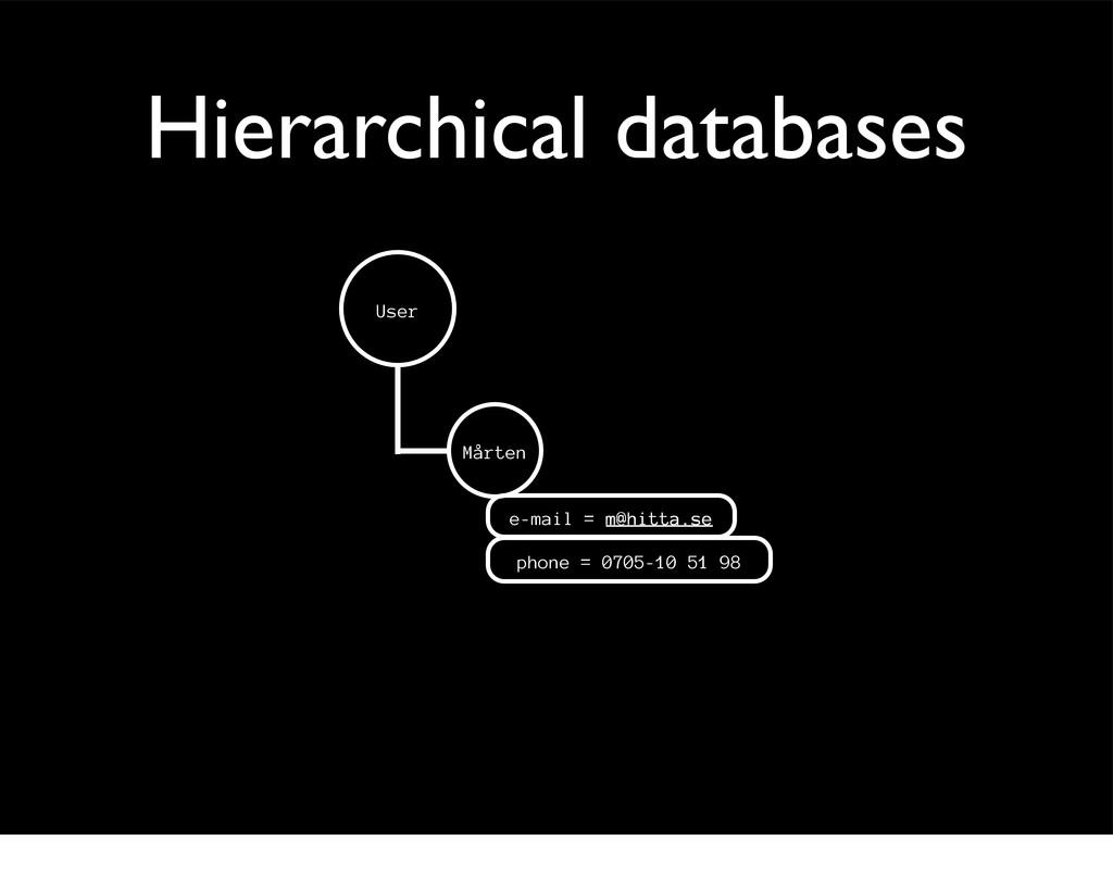 Hierarchical databases Mårten e-mail = m@hitta....