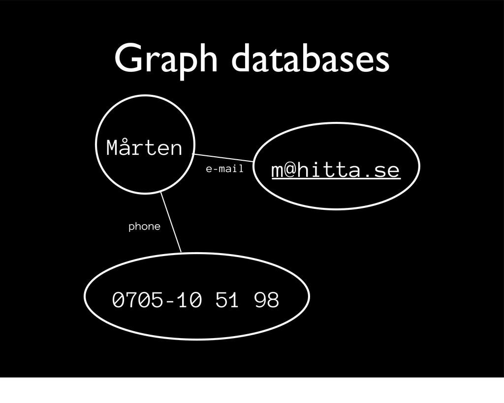 Graph databases Mårten m@hitta.se 0705-10 51 98...