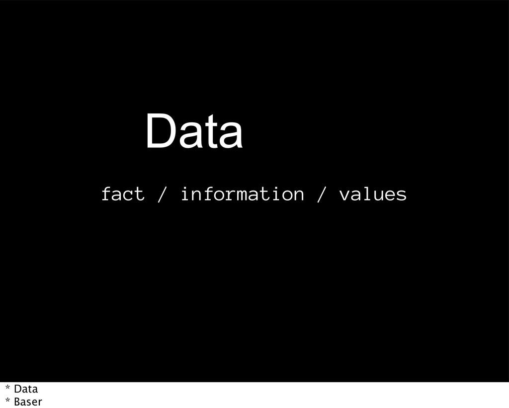 fact / information / values %BUB * Data * Baser