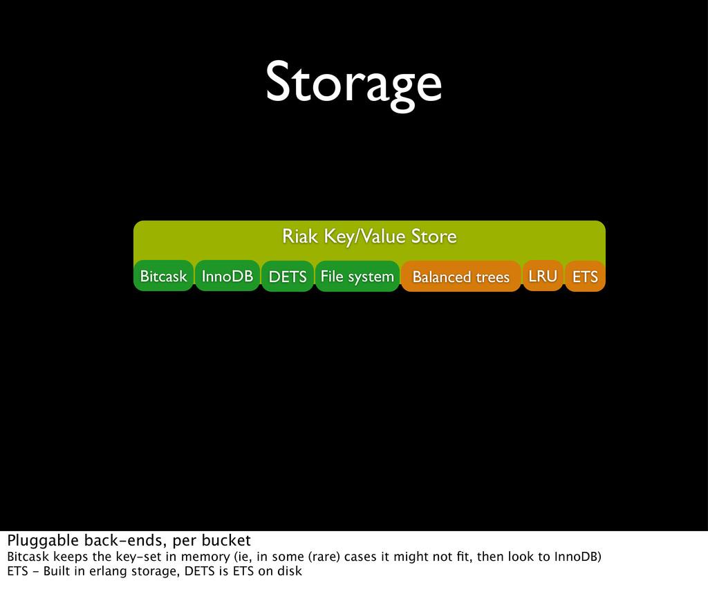 Storage Riak Key/Value Store Bitcask InnoDB DET...