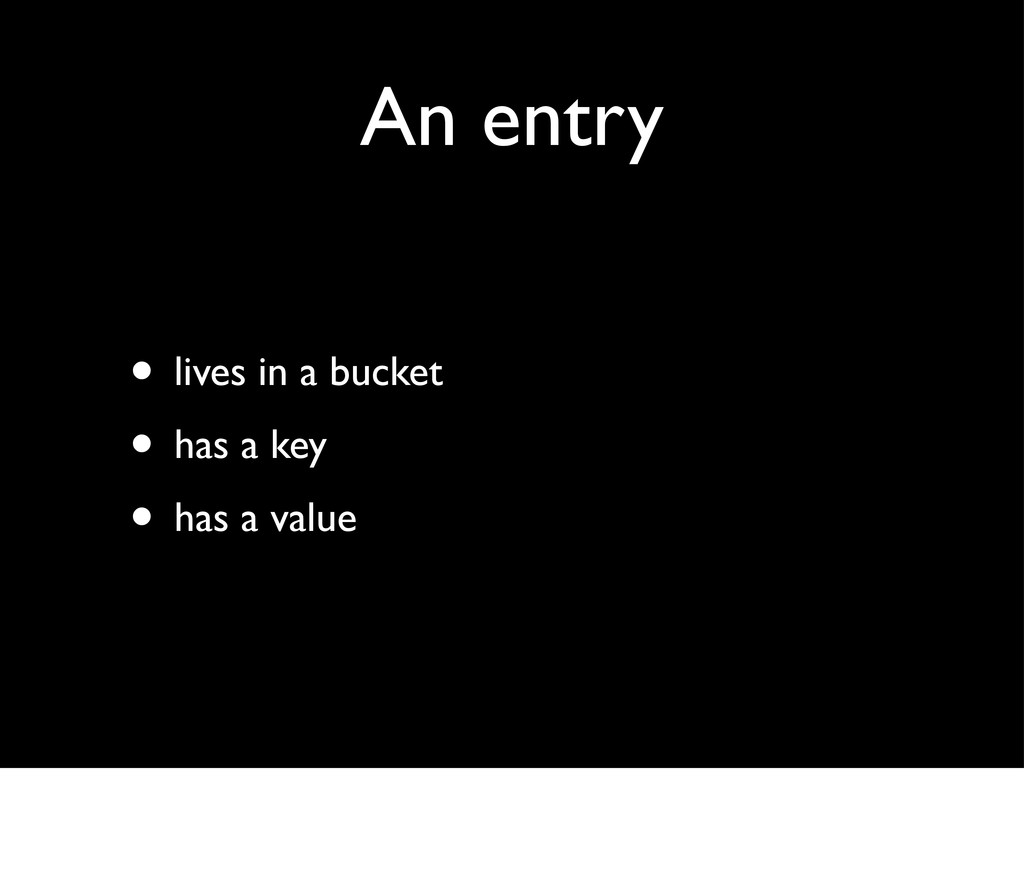 An entry • lives in a bucket • has a key • has ...