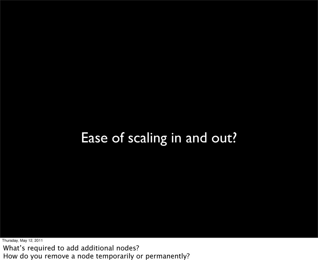 Ease of scaling in and out? Thursday, May 12, 2...