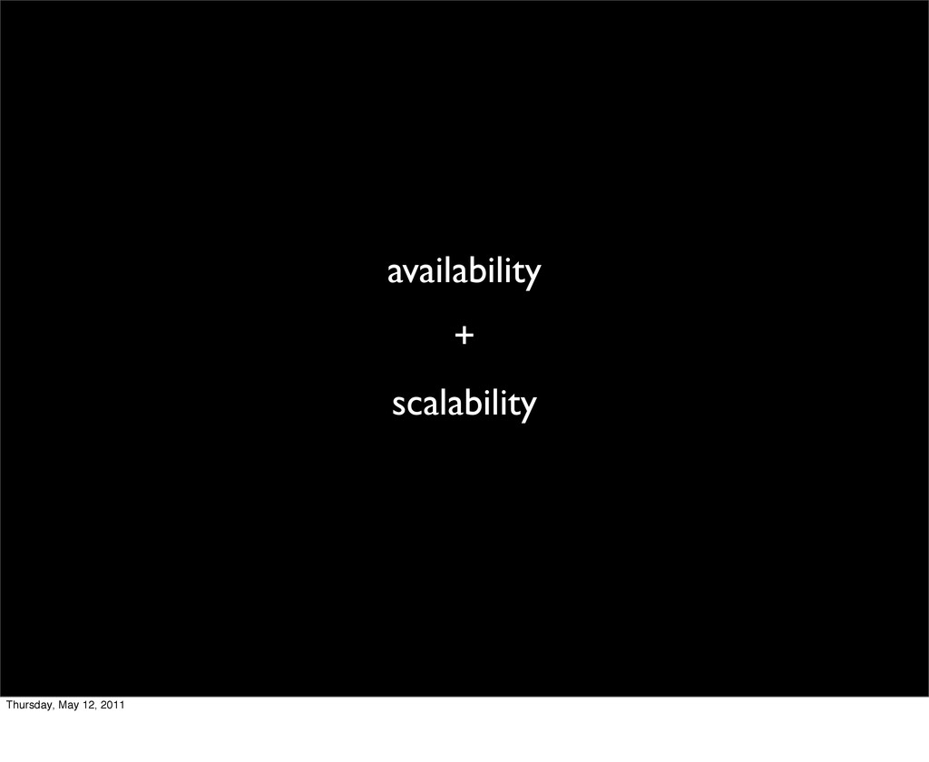 availability + scalability Thursday, May 12, 20...