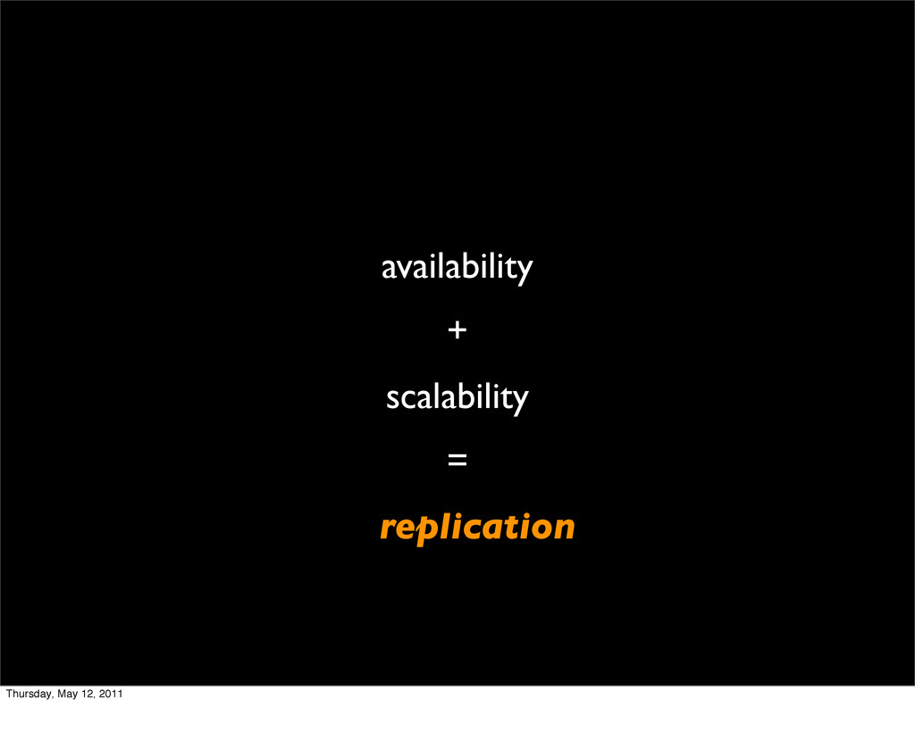 availability + scalability = replication Thursd...