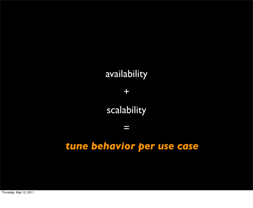 availability + scalability = tune behavior per ...