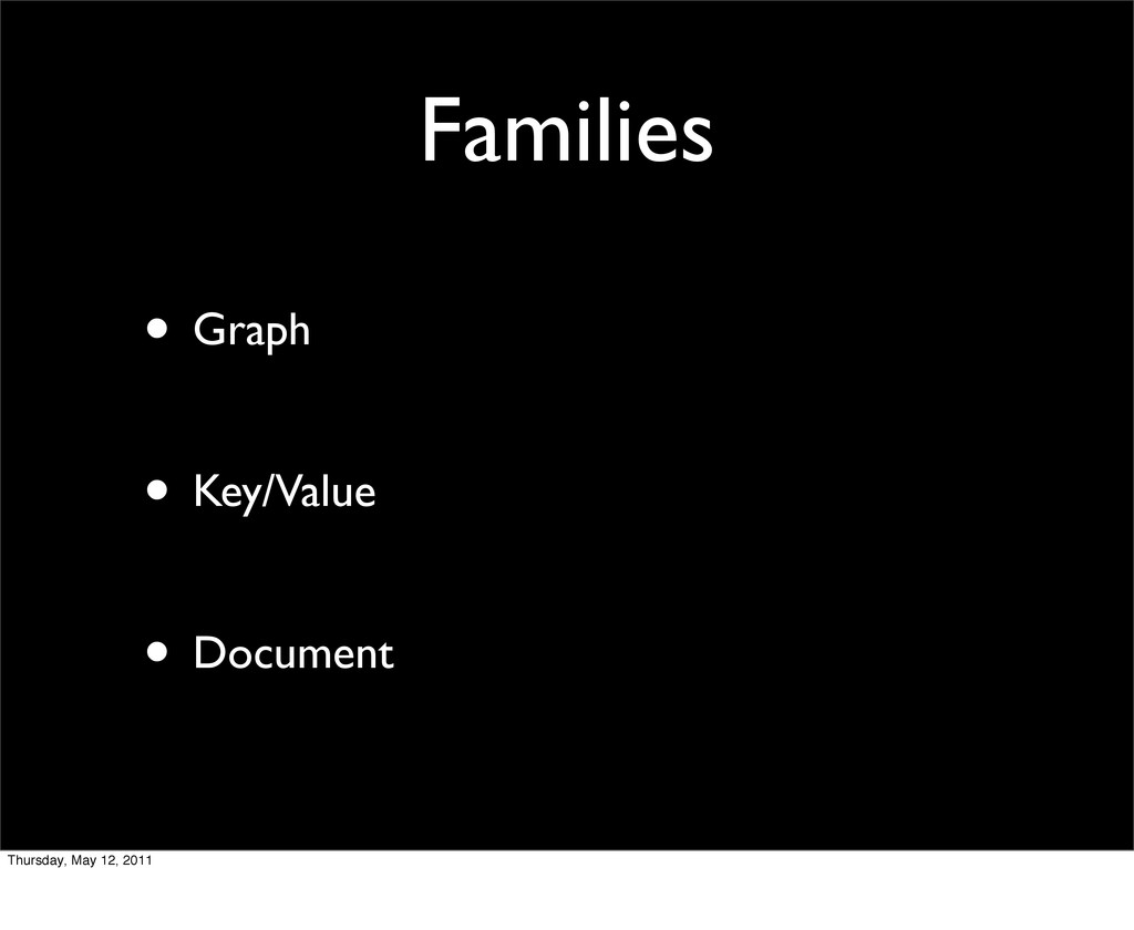 Families • Graph • Key/Value • Document Thursda...