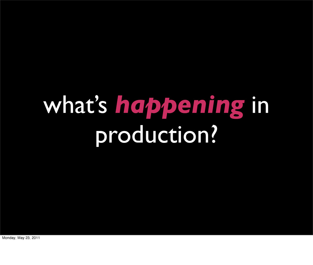 what's happening in production? Monday, May 23,...