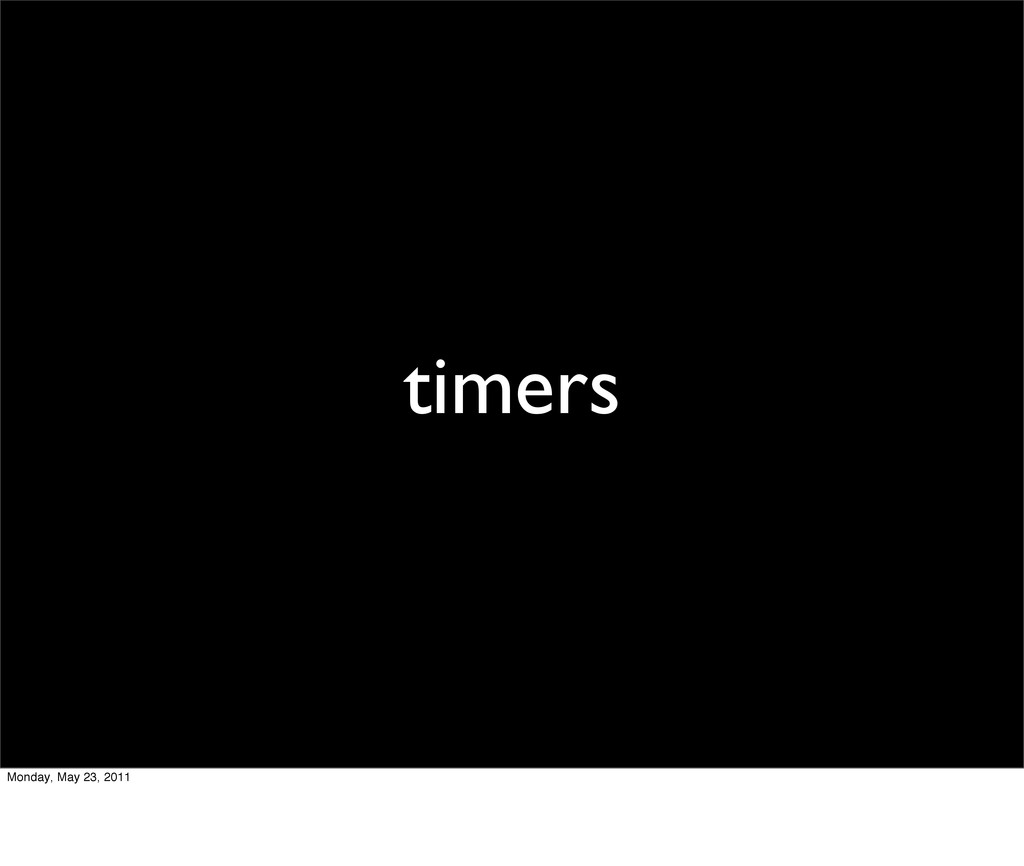 timers Monday, May 23, 2011