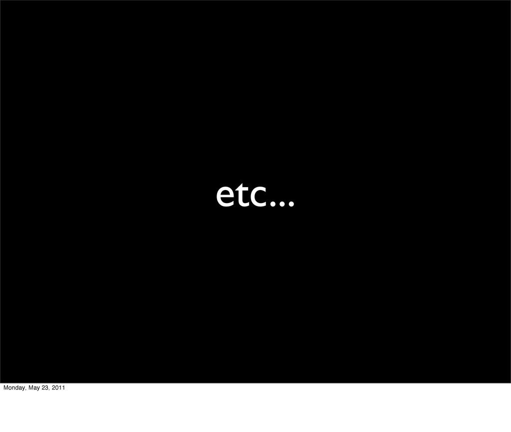 etc... Monday, May 23, 2011