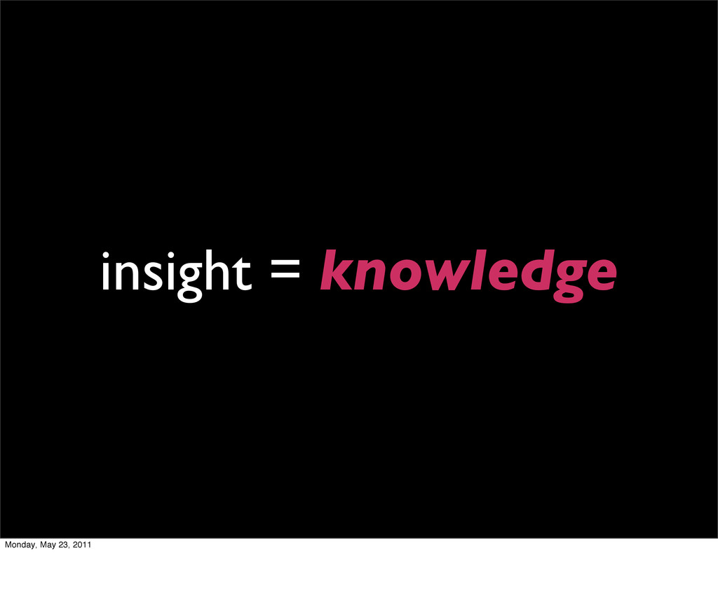 insight = knowledge Monday, May 23, 2011