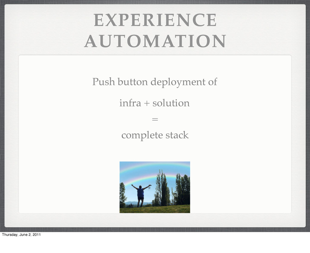 EXPERIENCE AUTOMATION Push button deployment of...