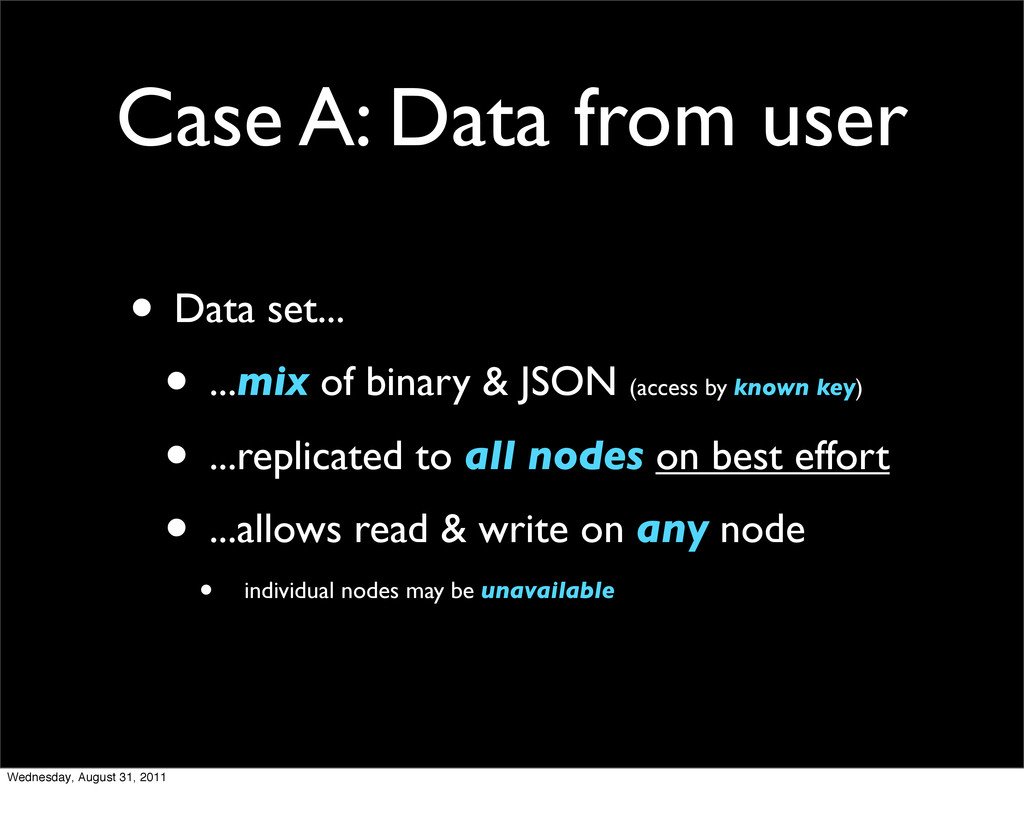 Case A: Data from user • Data set... • ...mix o...